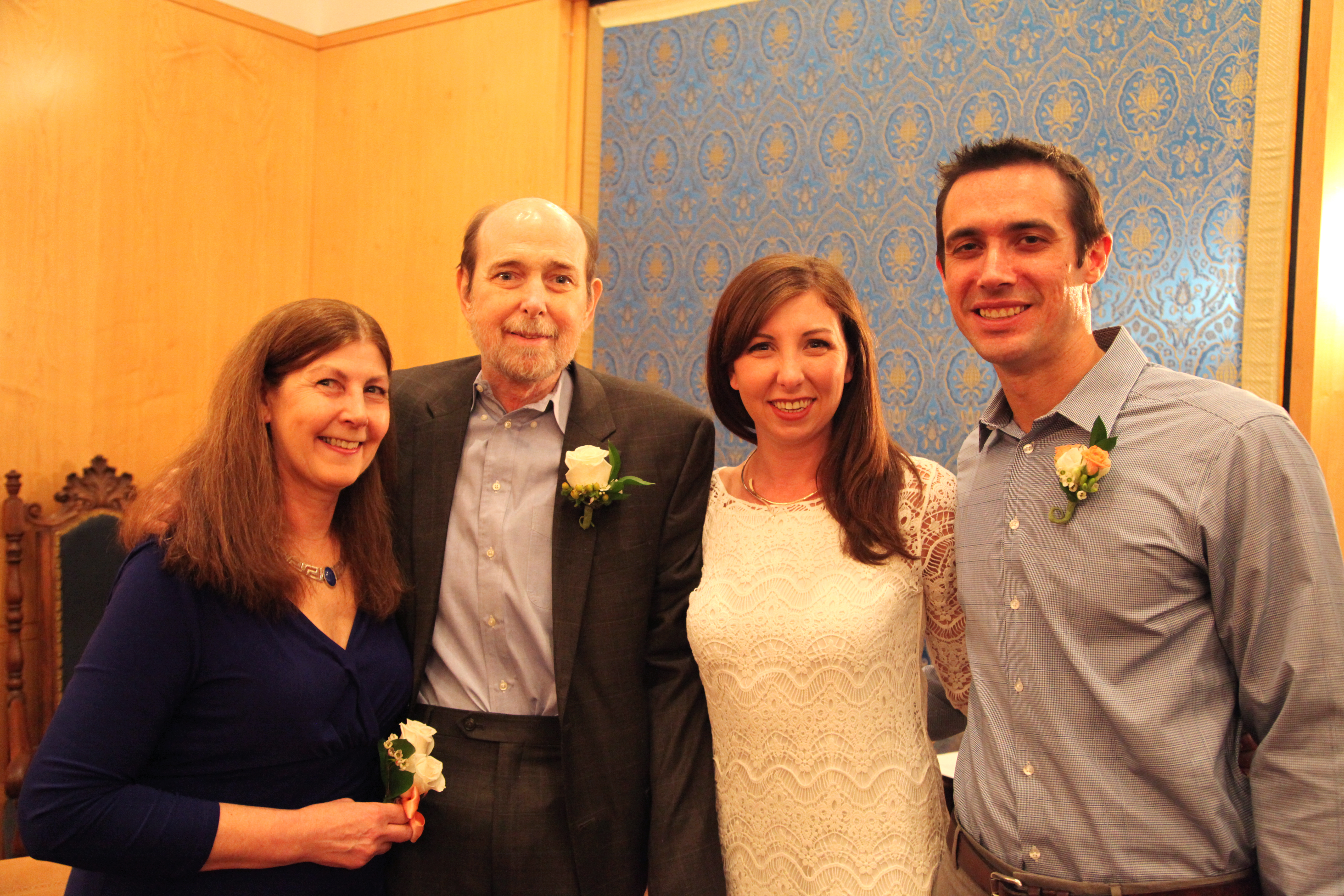 From left: Debbie and James Gleason with daughter, Anne, and son-in-law, Danny Brady, during their wedding ceremony at BWH.