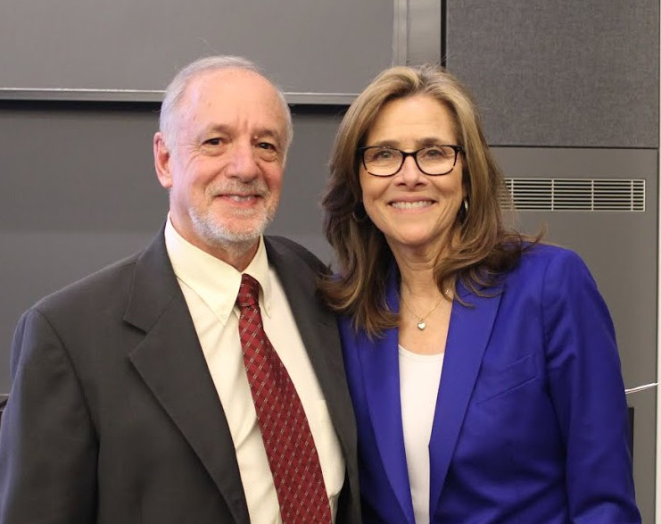 BWH clinical social worker Jeffrey Robbins with symposium host Meredith Vieira