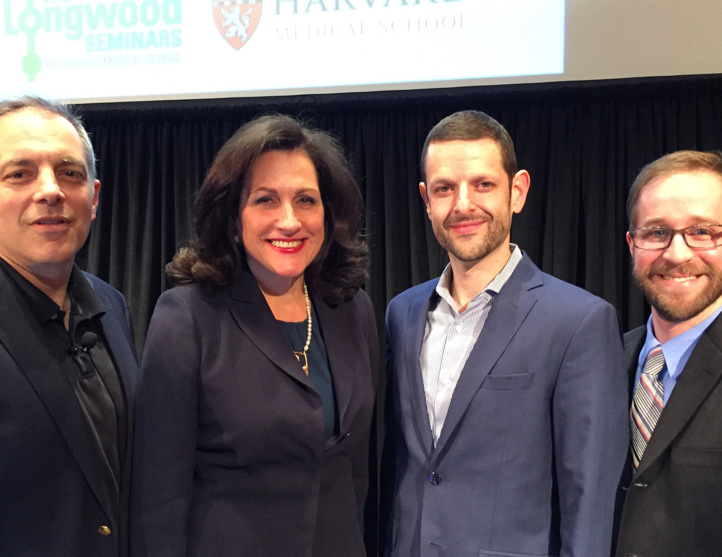 From left: Elazer Edelman; Gina Vild, Harvard Medical School chief communications officer, who welcomed attendees to the event; Jeff Karp and Conor Evans