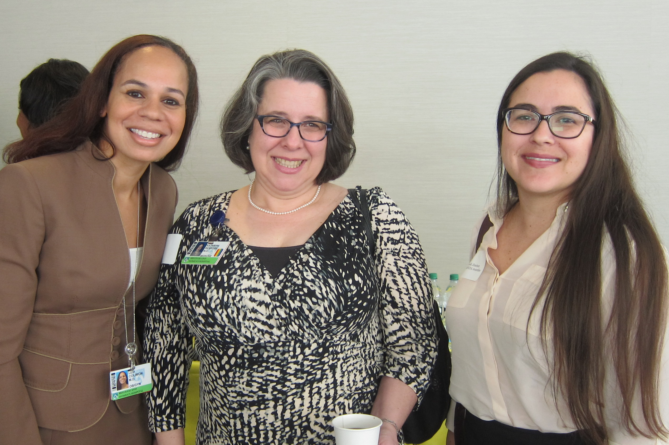 MFCDA recipients Liza Colimon (at left) and Monik Jimenez (at right) with Office for Women's Careers Faculty Director Kathryn Rexrode
