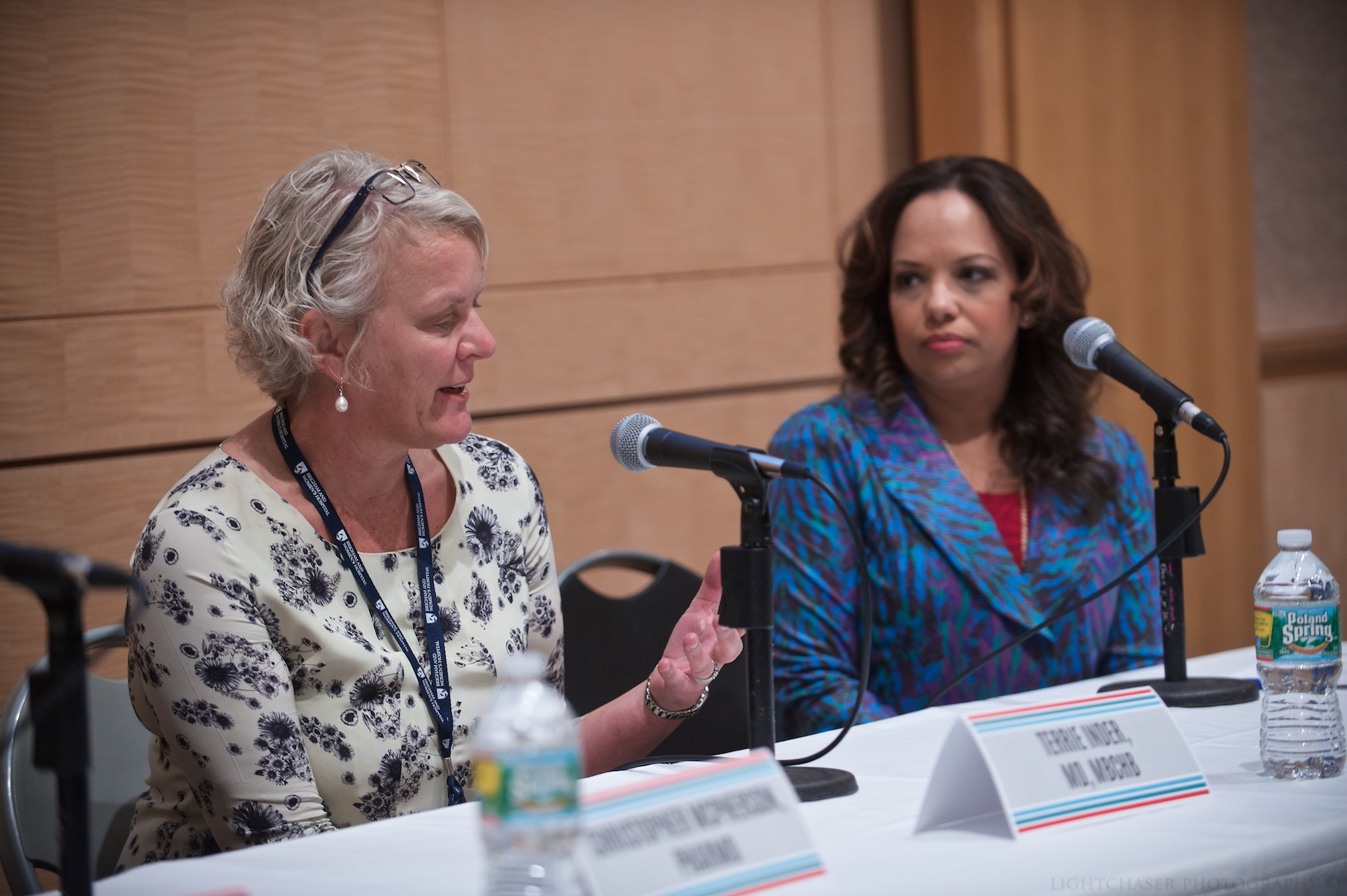 Terrie Inder (left) and moderator Mallika Marshall