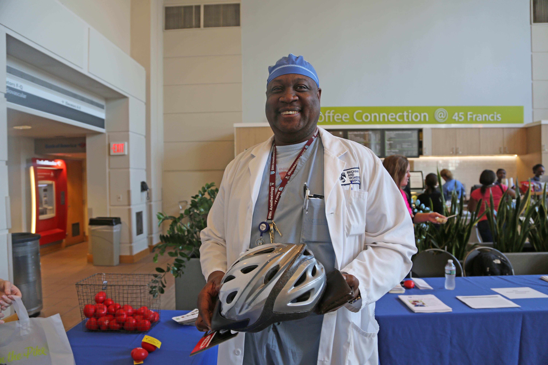 Ernst Daniel bought a bike helmet at BWH's Employee Wellness Day.