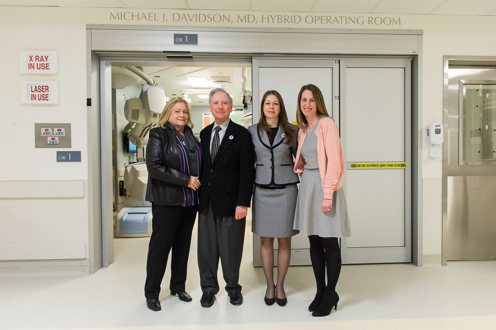 From left: Susan, Robert and Hillary Davidson and Terri Halperin, outside the newly dedicated Michael J. Davidson, MD, Hybrid Operating Room