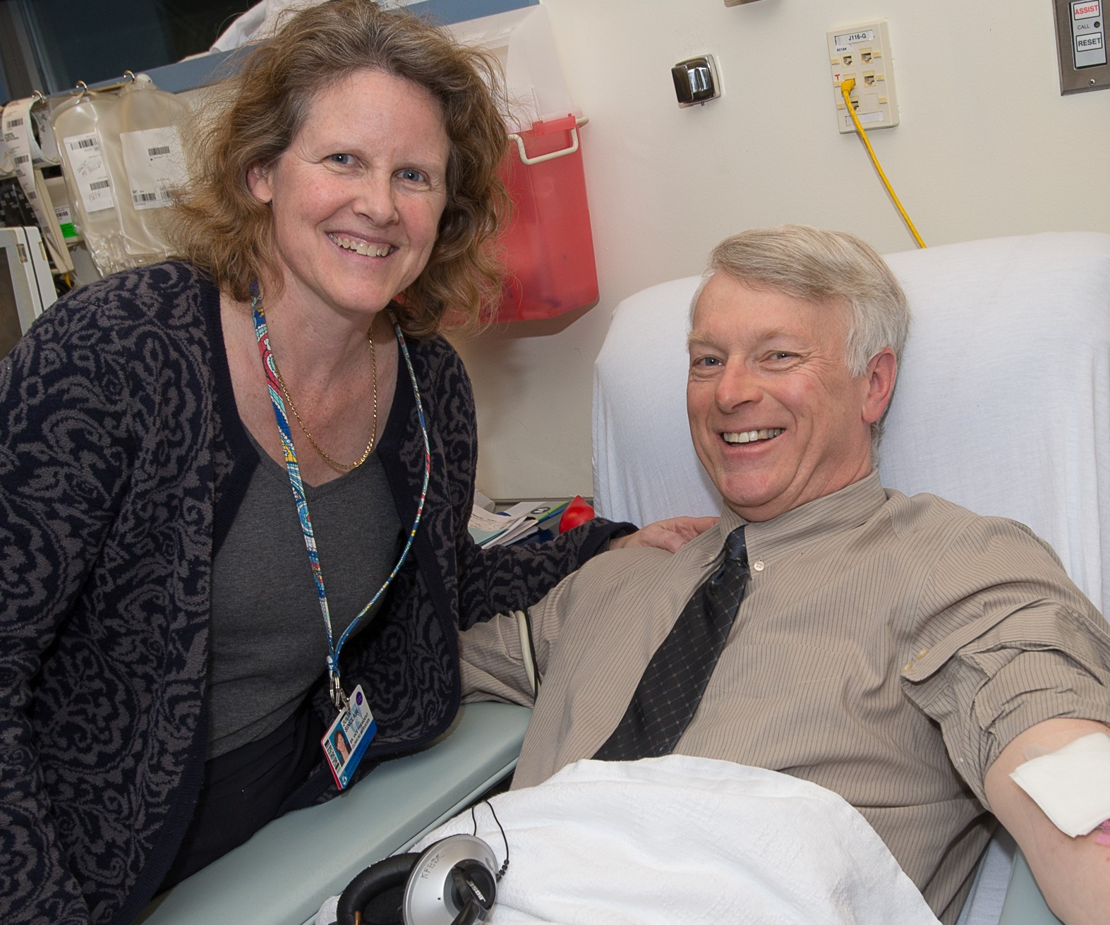 Blood donors Julia Sinclair and David Read, of DFCI, both participated in the recent Blood Drop Challenge.