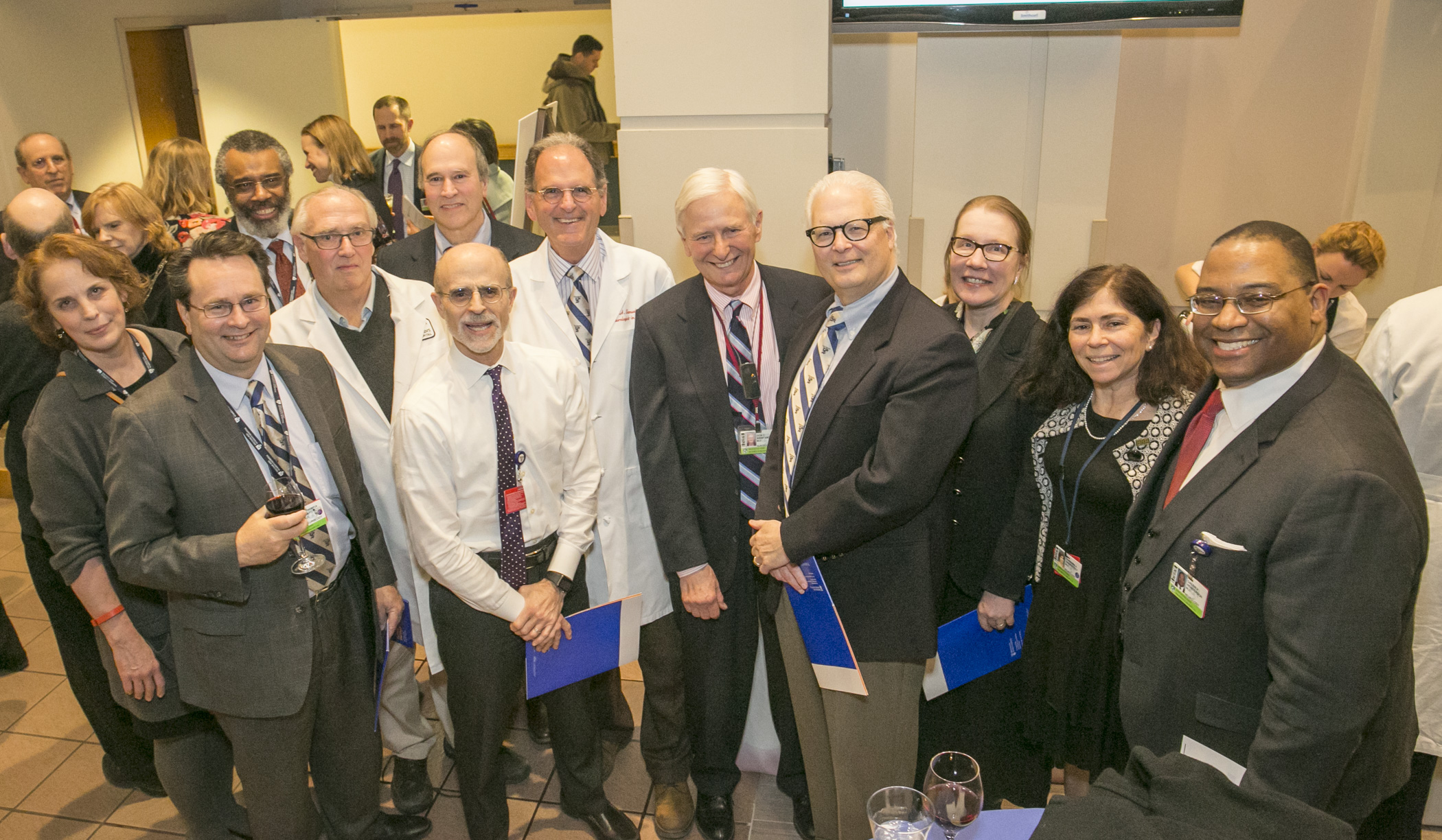 Many Distinguished Clinician honorees from BWH Neurology, with Department Chair Martin Samuels (sixth from right)