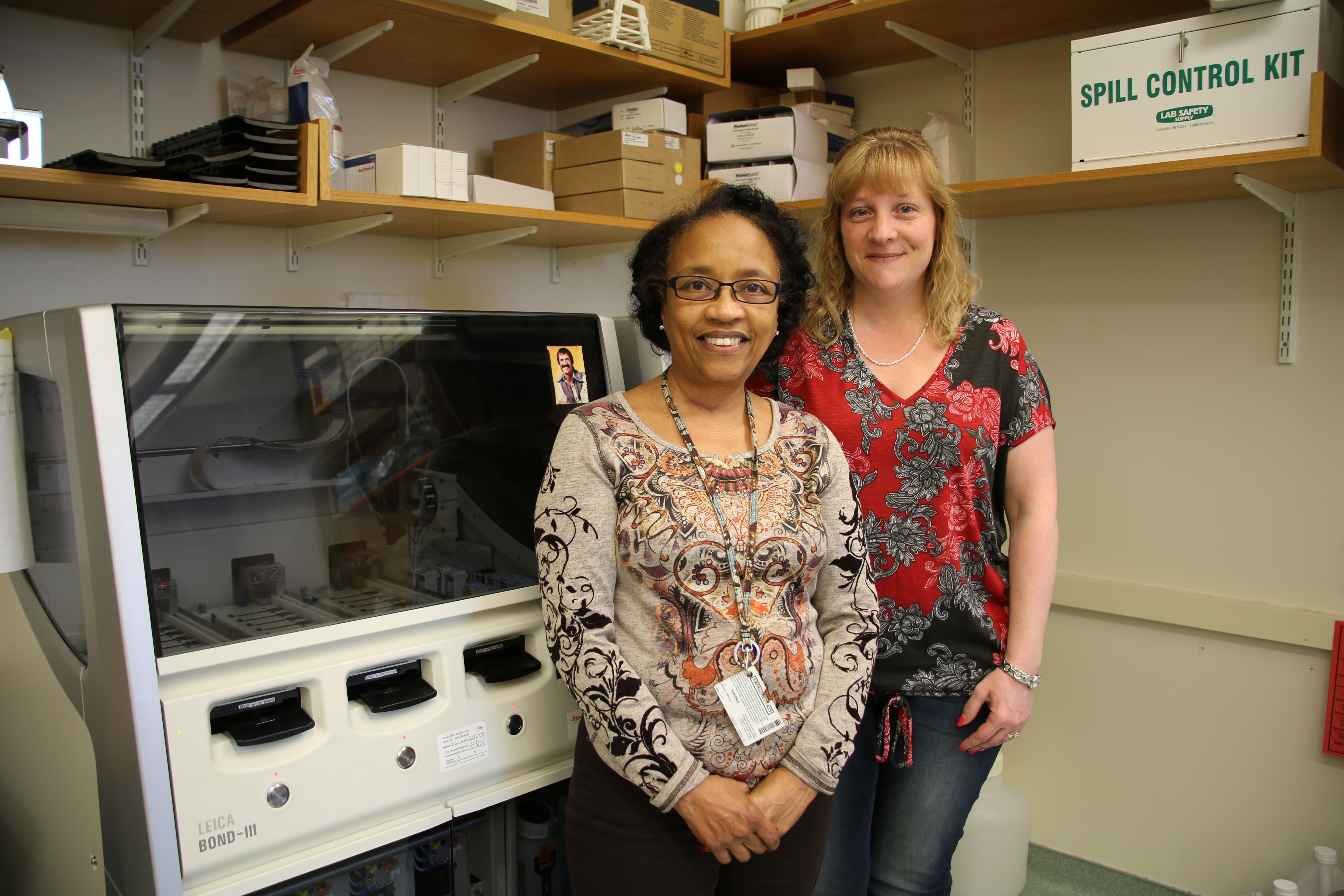 From left: Histology supervisor Donna Skinner and Teresa Bowman, with the team's staining technology
