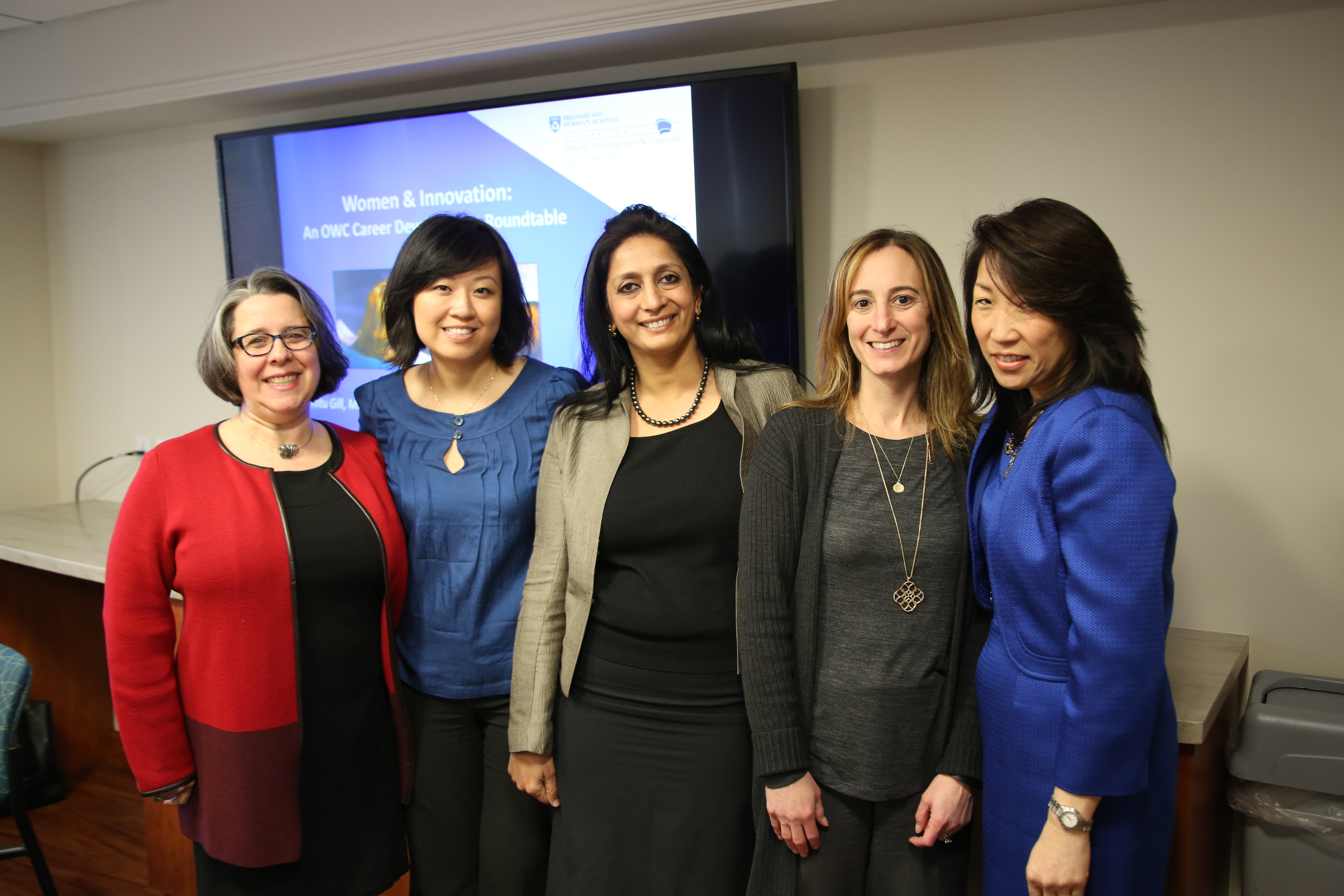From left: Kathryn Rexrode, YiDing Yu, Ritu Gill, Lesley Solomon and Esther Rhei