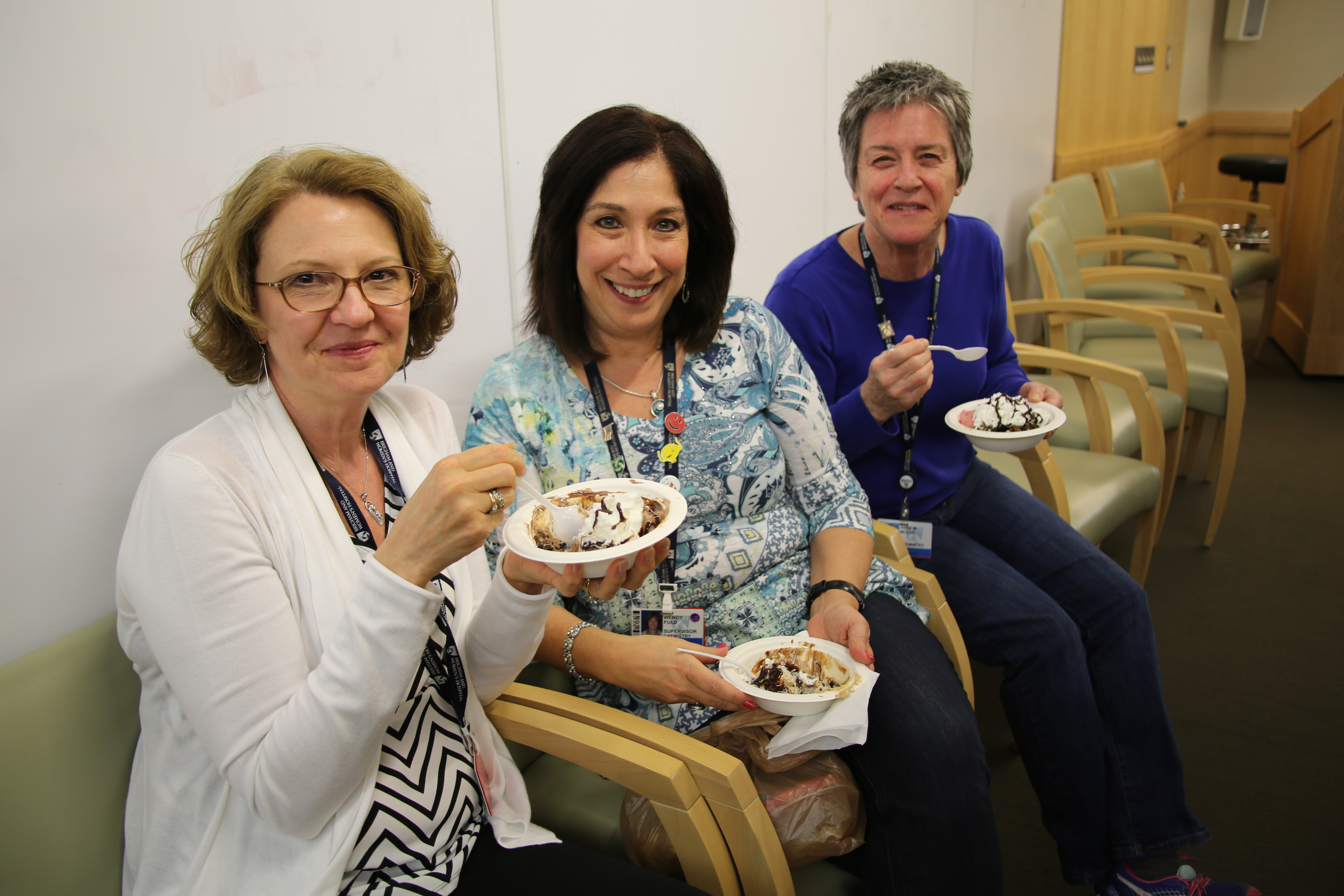 From left: Marcia Niland, Wendy Fuld and Anne McCue at an ice-cream social