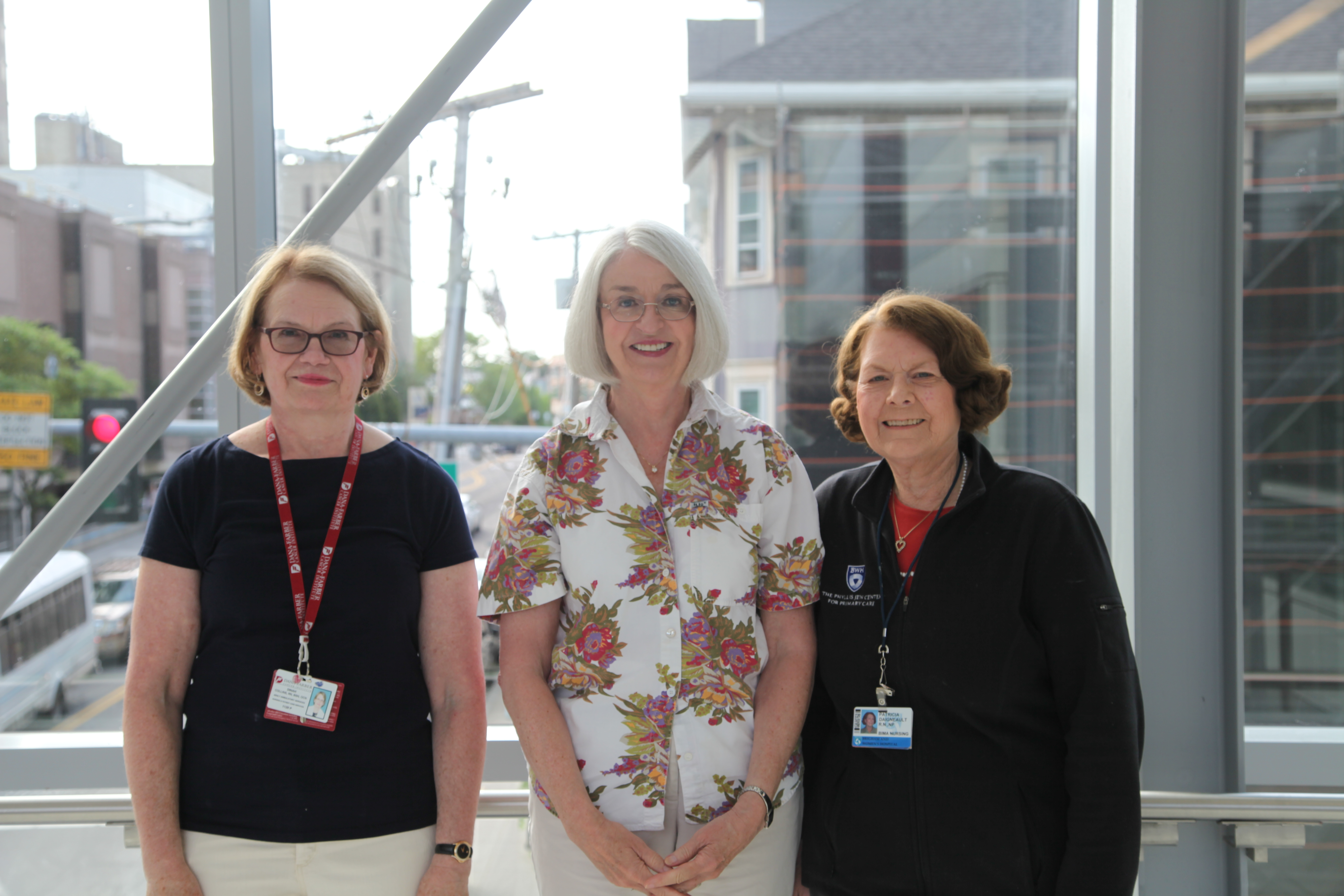 From left: Dinah Collins, RN, Margaret Mills and Patricia Daigneault, NP