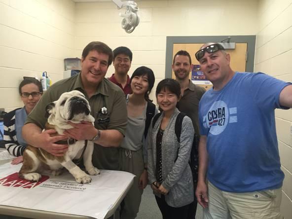 From left: Joanne Malley, William Rosenblad, Little Papi, Yuhan Lee, Song Yi Lin, Keyue Chen, Jeff Karp and John Shanahan