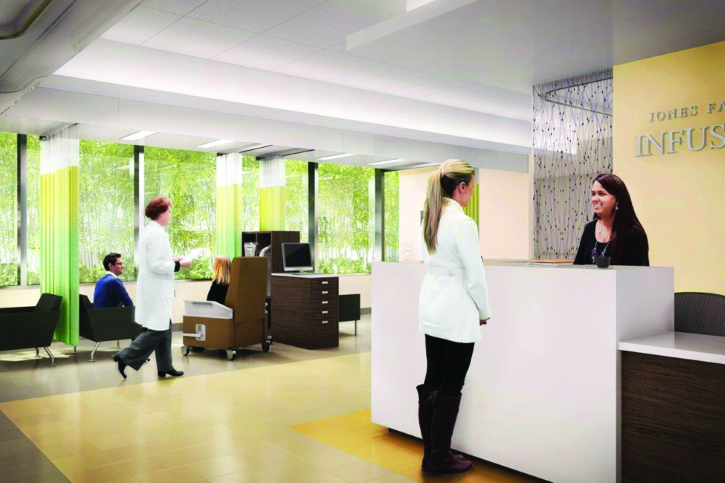Environments that foster exceptional patient experiences, as depicted in this rendering of the new Infusion Suite, are a key element of the building.