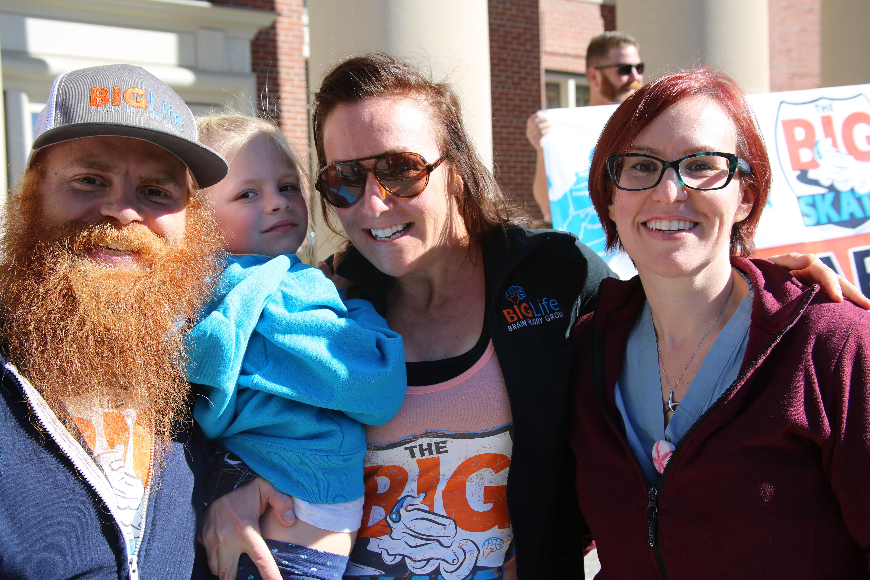 From left: Nathan McDonald, Lija Brigham McDonald, Merideth McDonald and BWH nurse Susanne Bloom