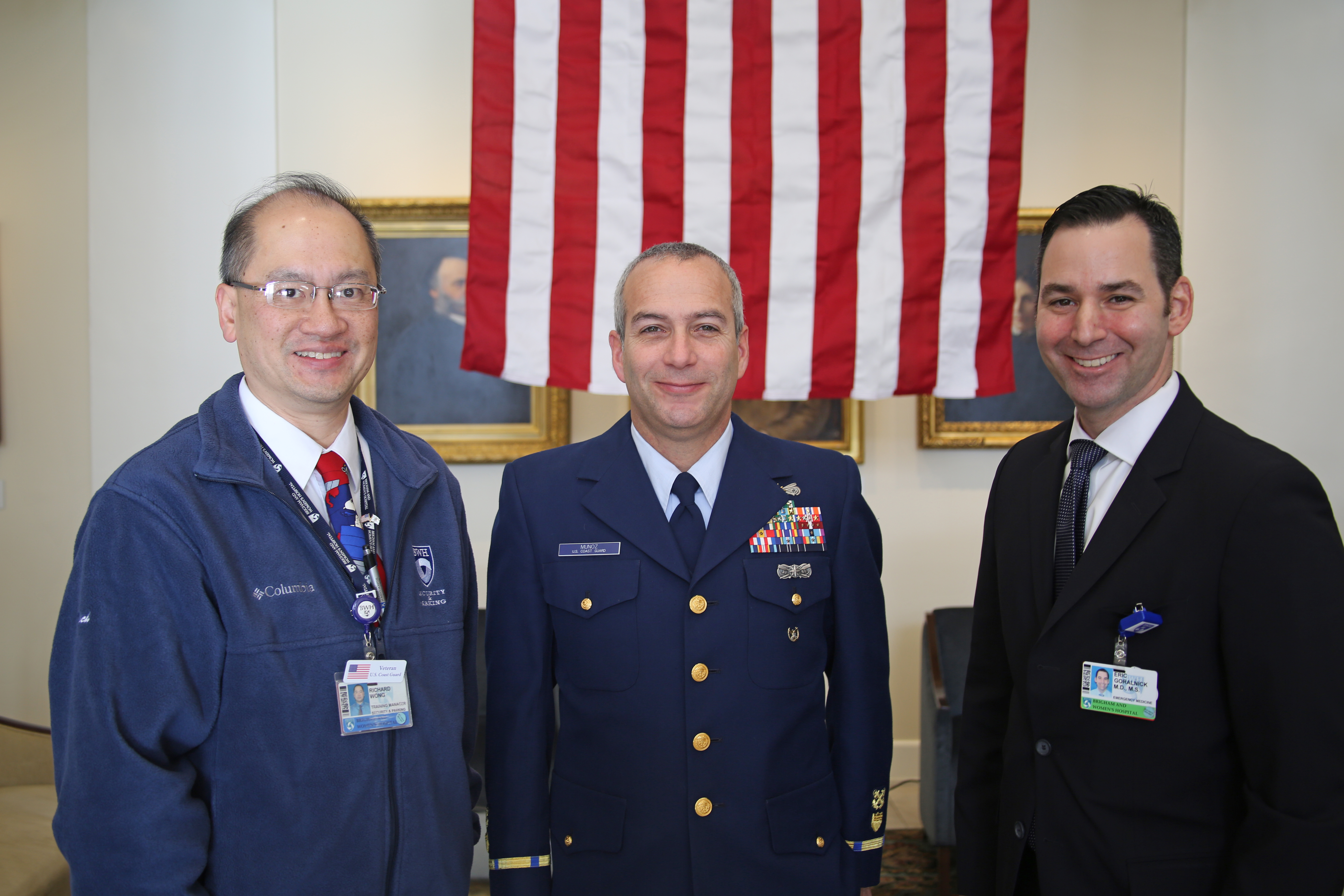 From left: BWHers and military veterans Richard Wong and Luis Muñoz, of the U.S. Coast Guard, and Eric Goralnick, of the U.S. Navy