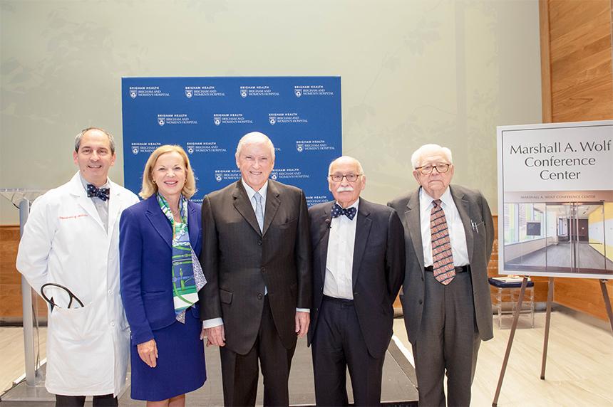 From left: Joel Katz, Betsy Nabel, Jack Connors, Marshall Wolf and Eugene Braunwald