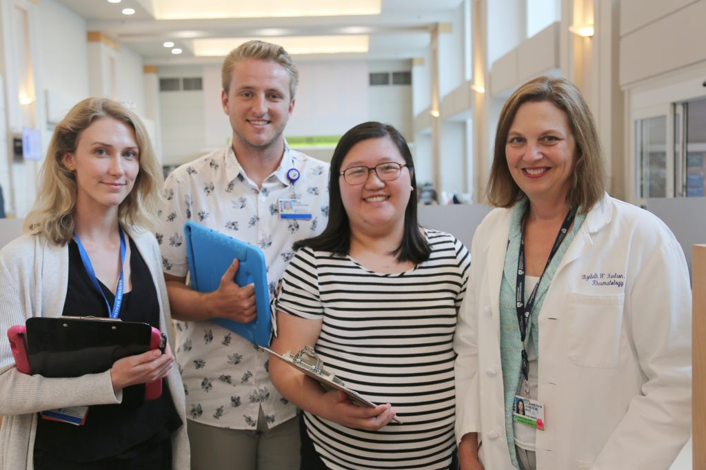 Some Brigham-based members of the Biobank team, from left: Theodora O'Leary, Shane Sturtevant, Sherry Chen and Elizabeth Karlson