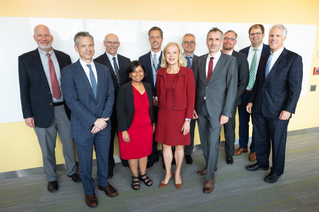 Senior leaders and scientists from Bayer, Brigham Health, Mass General and Partners HealthCare celebrate the new lab's launch.