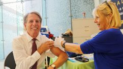 Ron Walls getting a flu shot