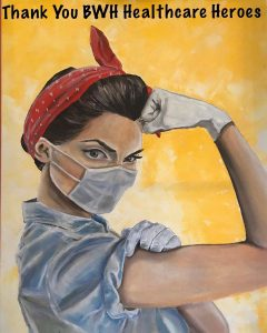 Rosie the Riveter in mask