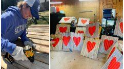 Allison Startzell crafting signs