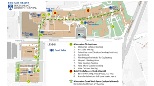 Map of dining areas and quiet spaces (updated Oct. 8, 2020): Click image to enlarge.
