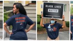 Brigham staff wear Black Joy Day shirts