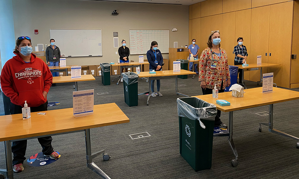 Brigham Staff in the Shapiro testing center.