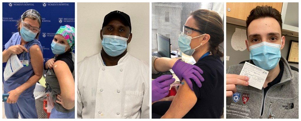 Collage of four photos of vaccinated staff
