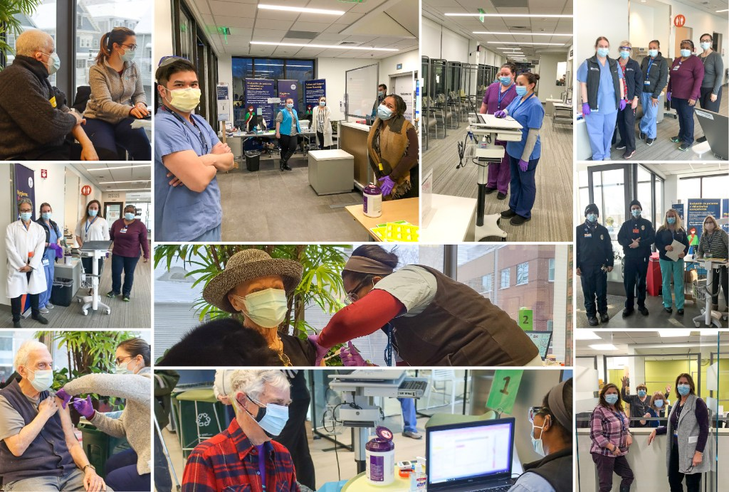 Collage of photos from COVID-19 vaccine clinics