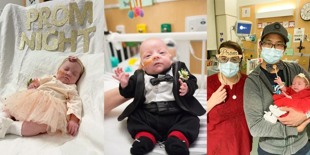Collage of infants in formalwear