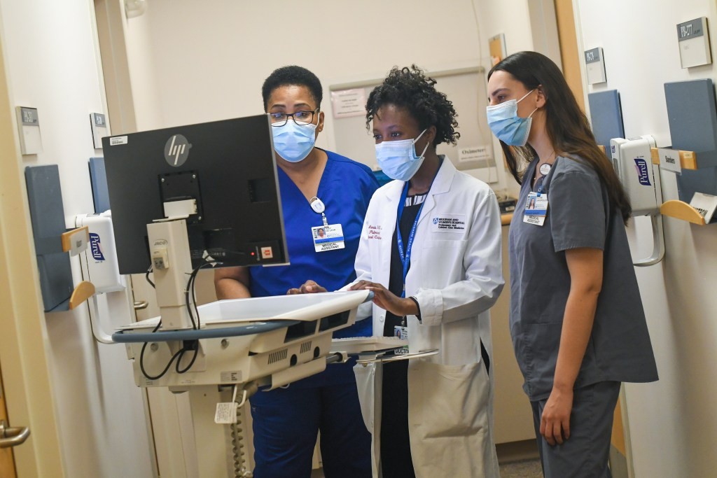 Physician and medical assistants look at computer
