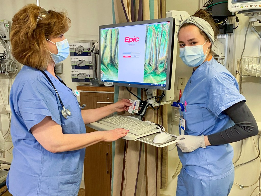 Clinical staff demonstrate new login system