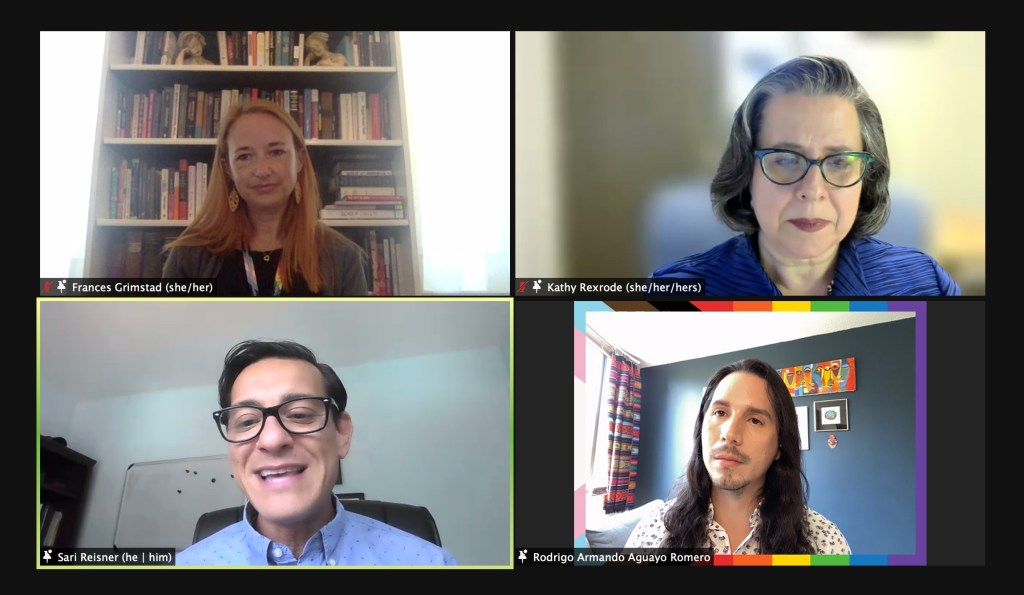 Screenshot of Zoom meeting with four people
